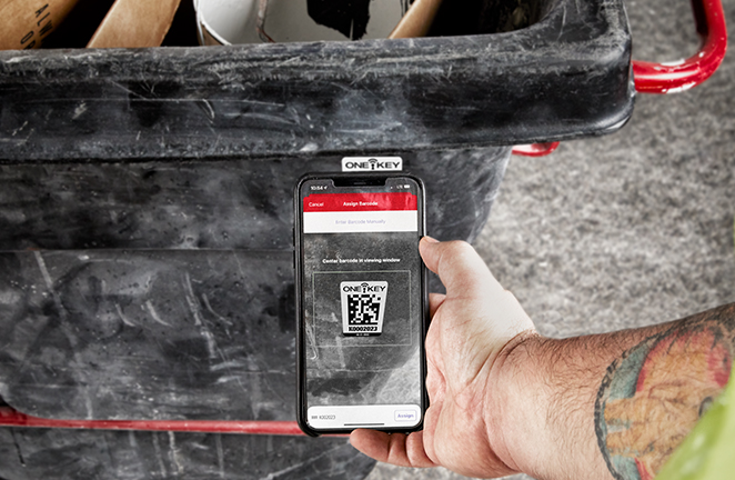 One-Key asset tags lets you update the location of all your tools and equipment using the app's barcode scanner