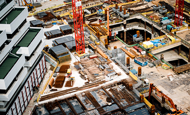 An aerial view of a construction site.