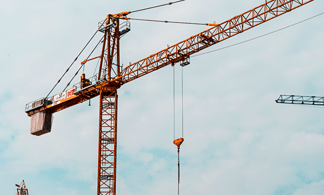 A view of a crane on a construction site