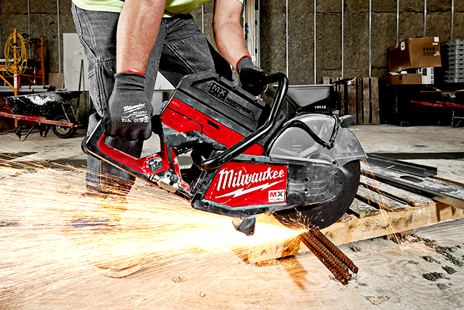"""The new Milwaukee 14"""" cut off saw, powered by the new MX FUEL battery system, effortlessly cuts through rebar"""