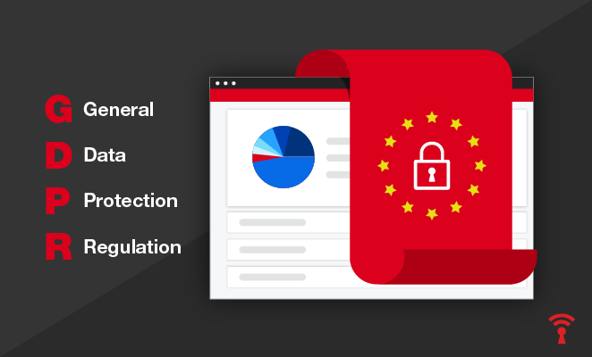 A GDPR illustration displays a computer that has been secured