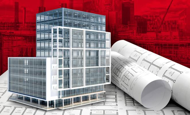 Illustration features skyscraper next to building plans
