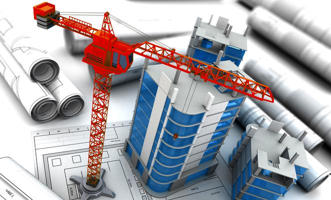 Construction site beside building plans