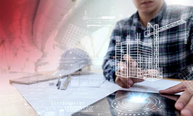 Man at desk with ipad visualizing BIM (building information modeling) software