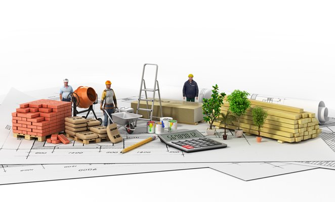 An illustration features construction tradespeople on desk with construction materials, calculator, and building plans