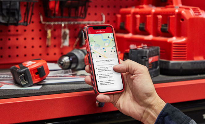 Tool manager holds iOS device displaying One-Key app location history