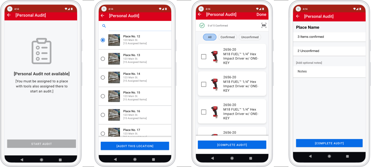 4 Android smartphones display personal inventory audit sequence