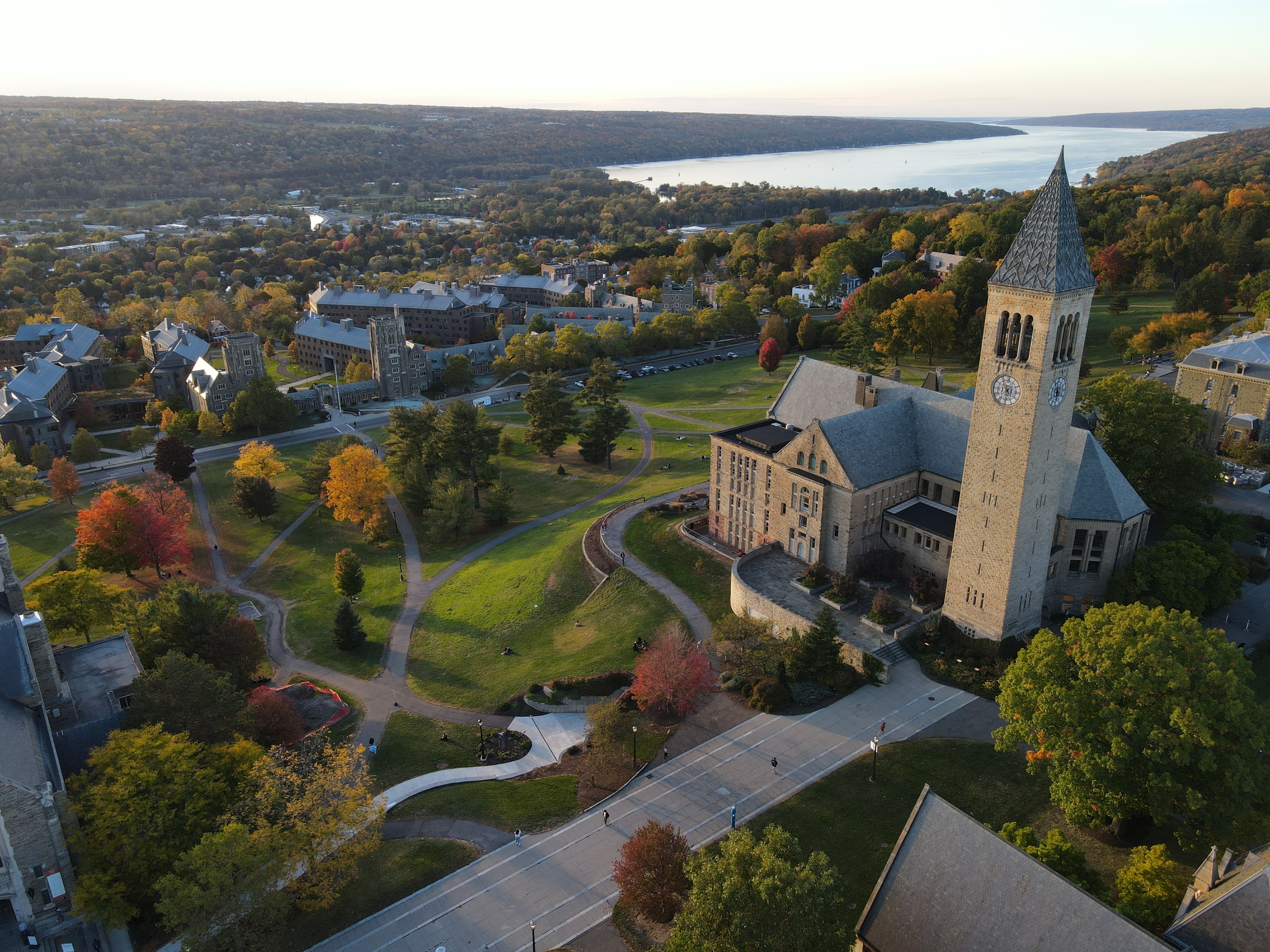 An arial shot of Cornell University, an ivy league school offering landscape architecture bachelor's and master's degrees