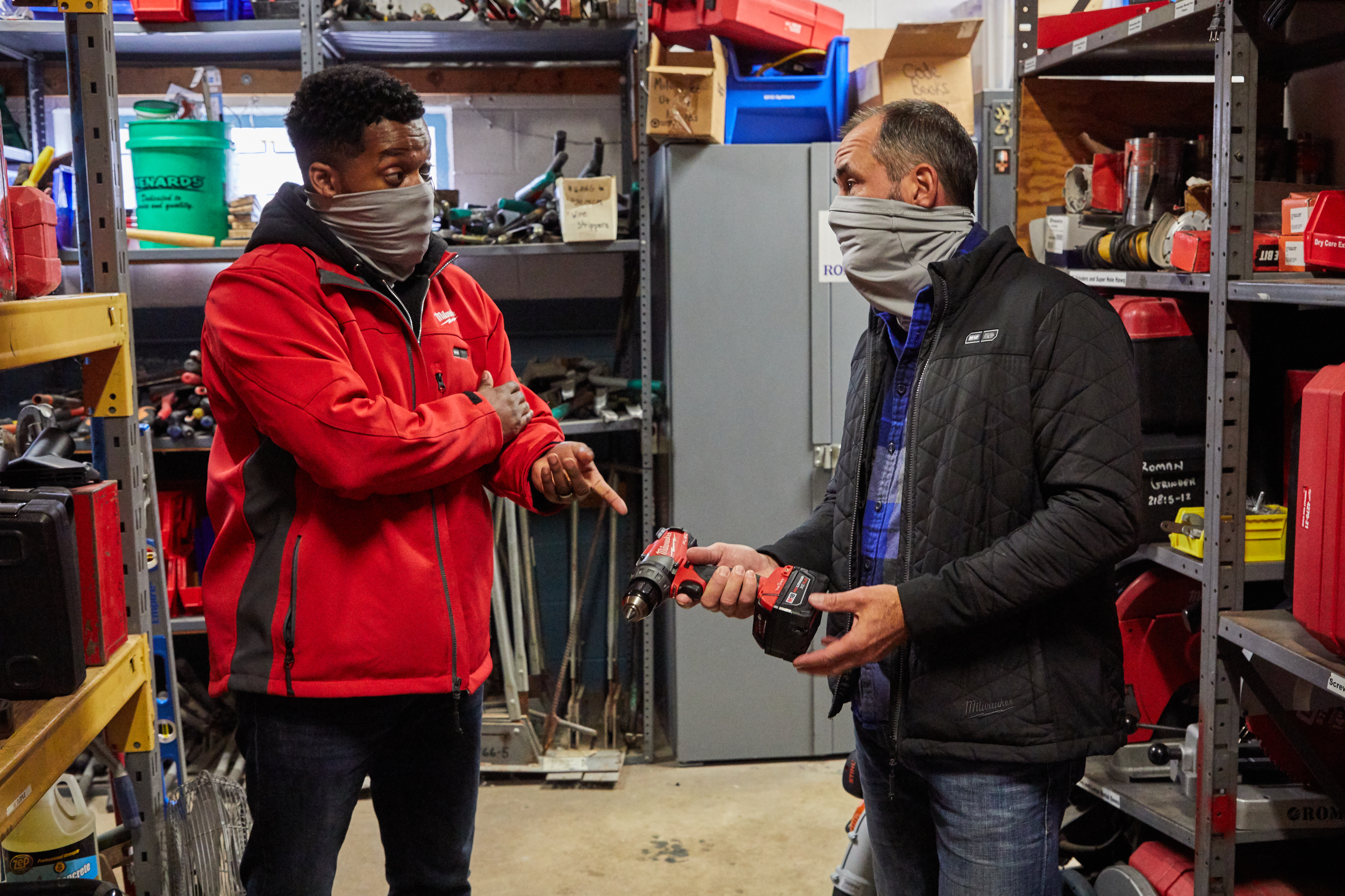 Two tool crib managers confer