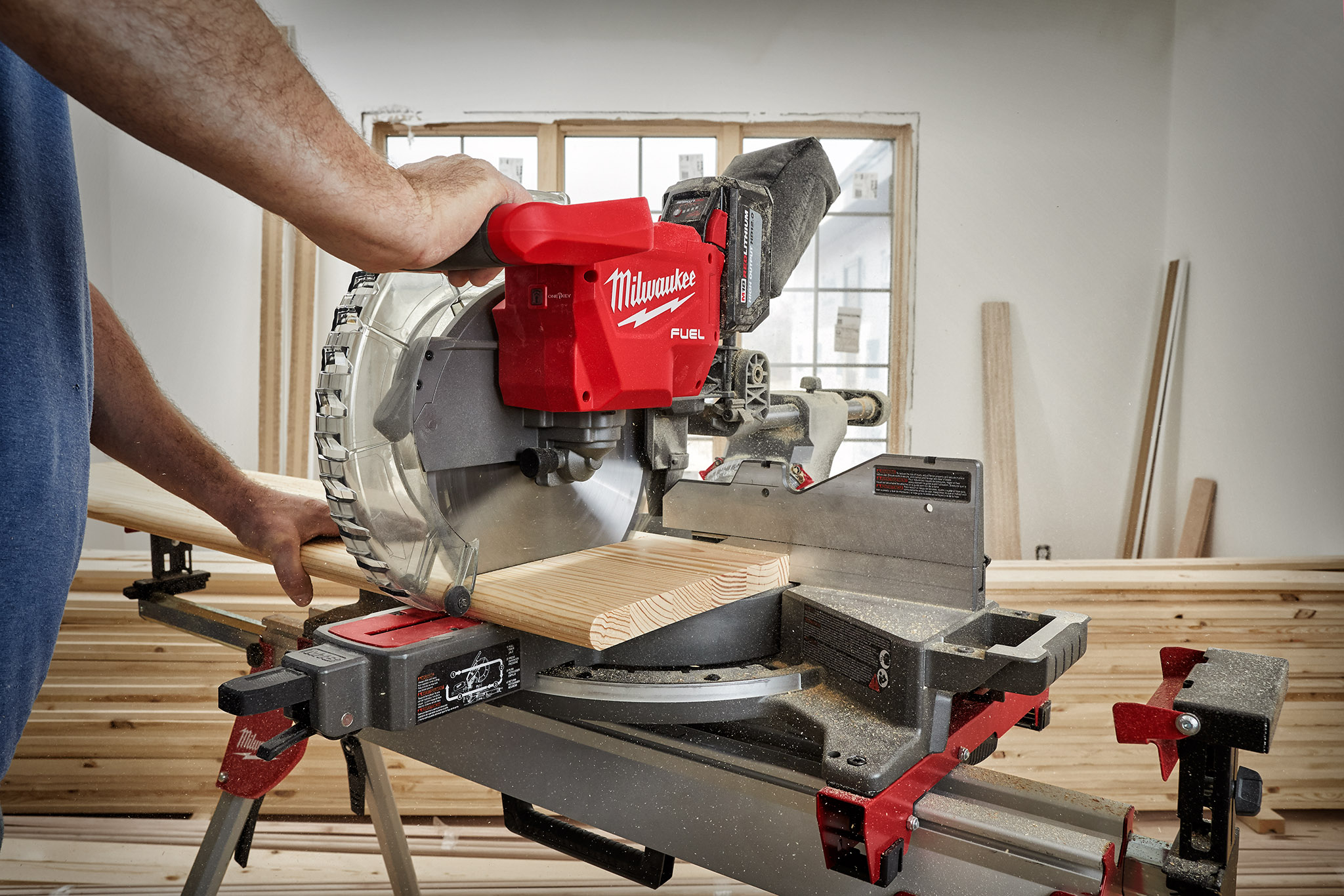 Contractor uses an adjustable miter saw