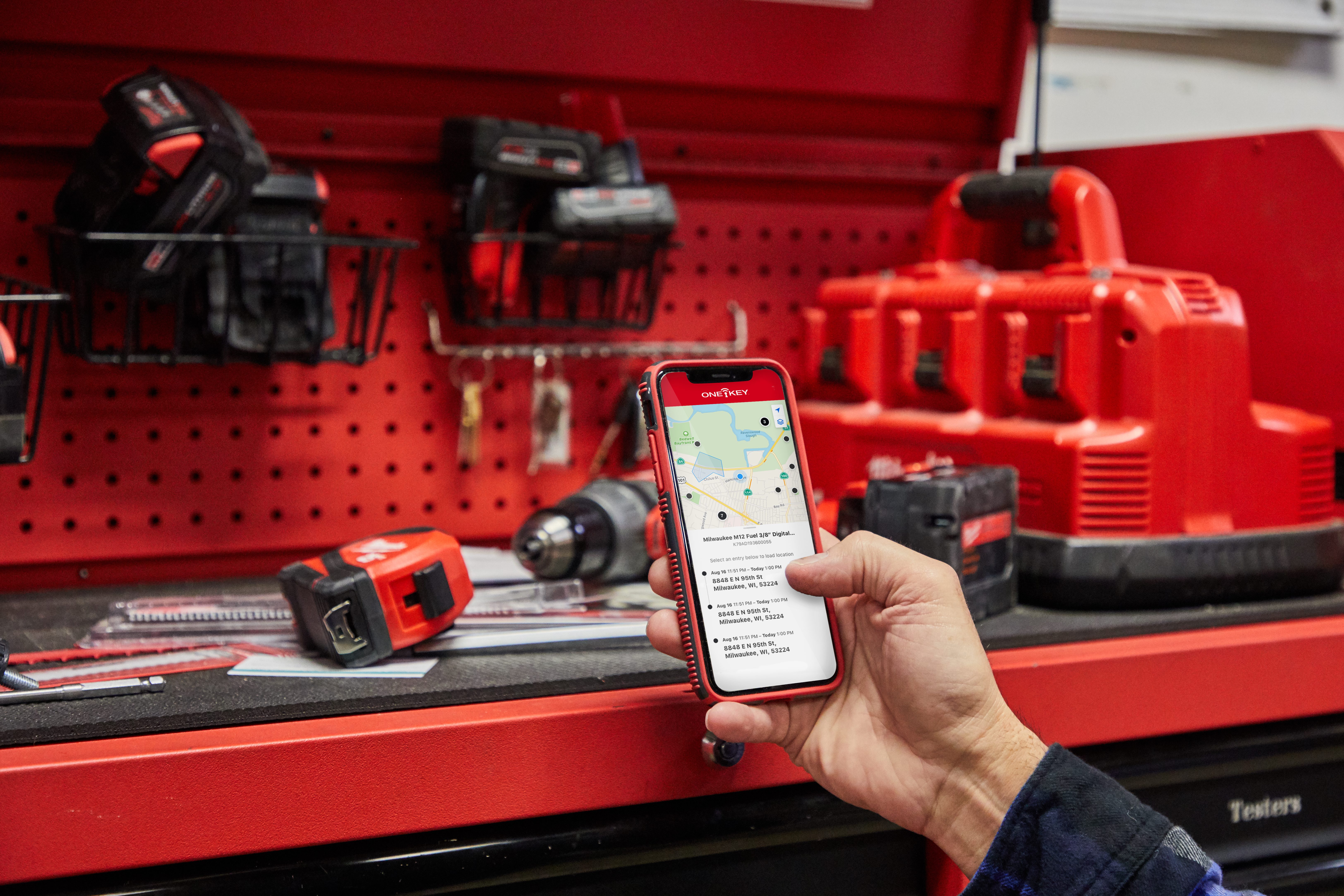 One-Key app is used in tool crib to view inventory items' recent location history