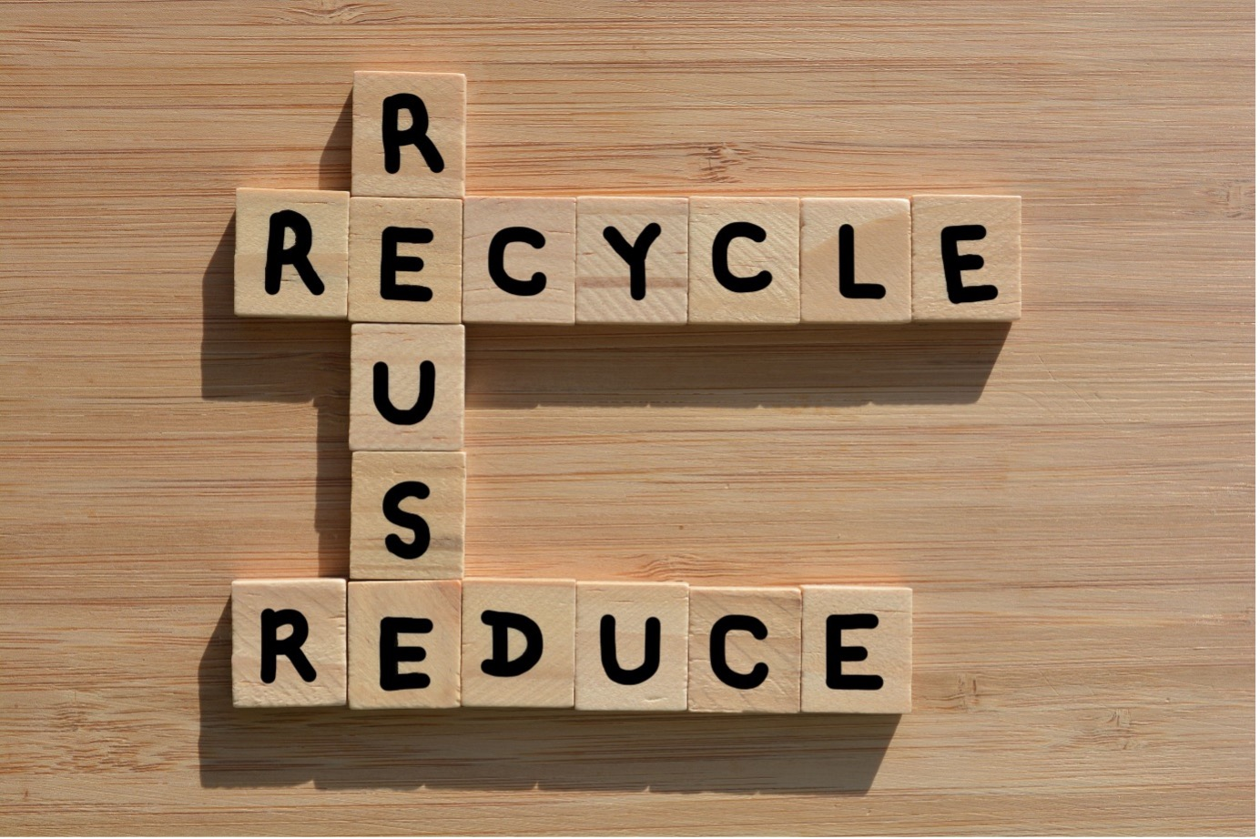 """Scrabble tabletop game spells out: """"reduce, reuse, recycle"""""""