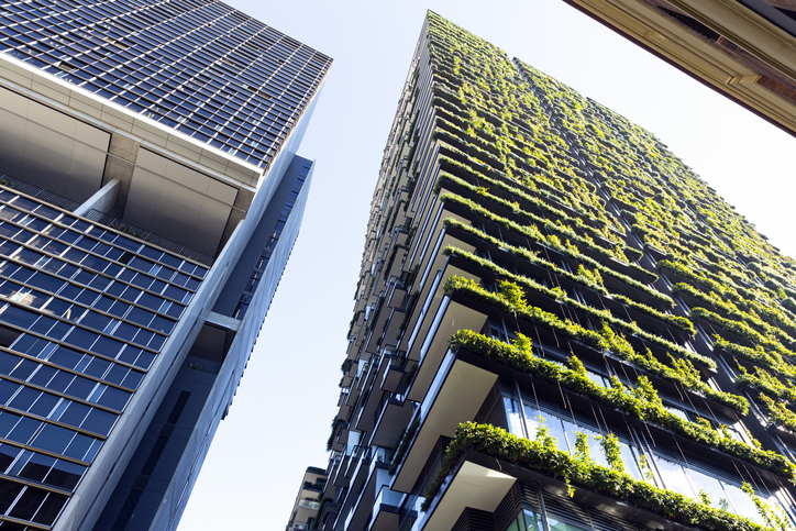 A green building adorned in foliage stands beside a skyscraper