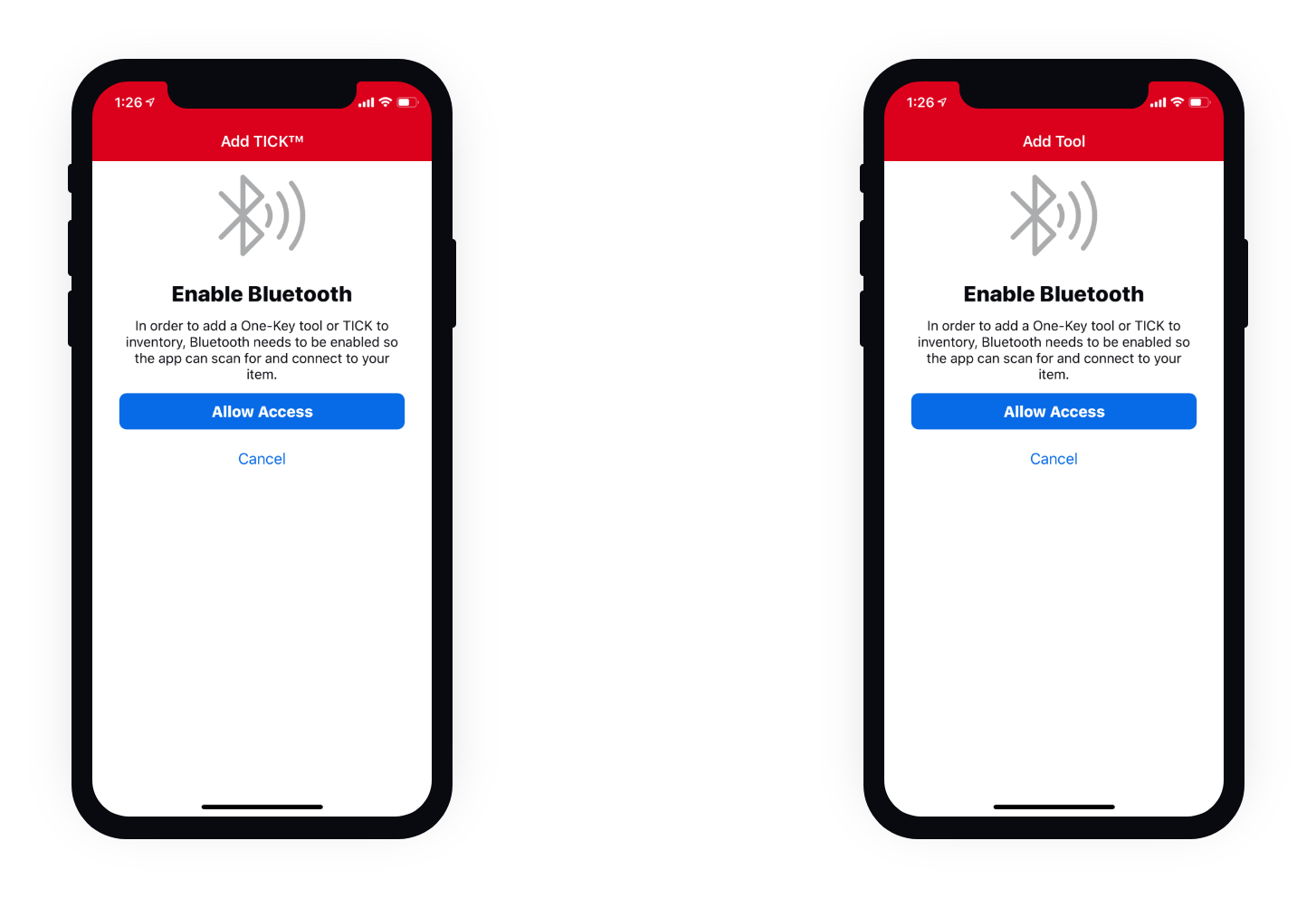 Educational screens in bluetooth tracking app show steps needed for adding tools to inventory