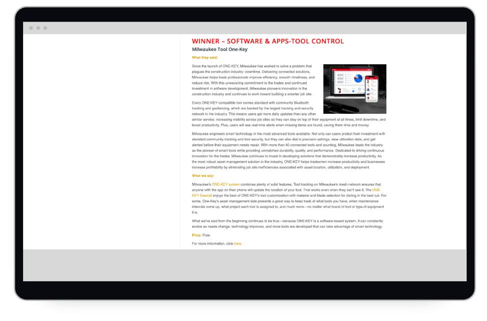 Pro Tool Innovation Award website featuring the Milwaukee One-Key app
