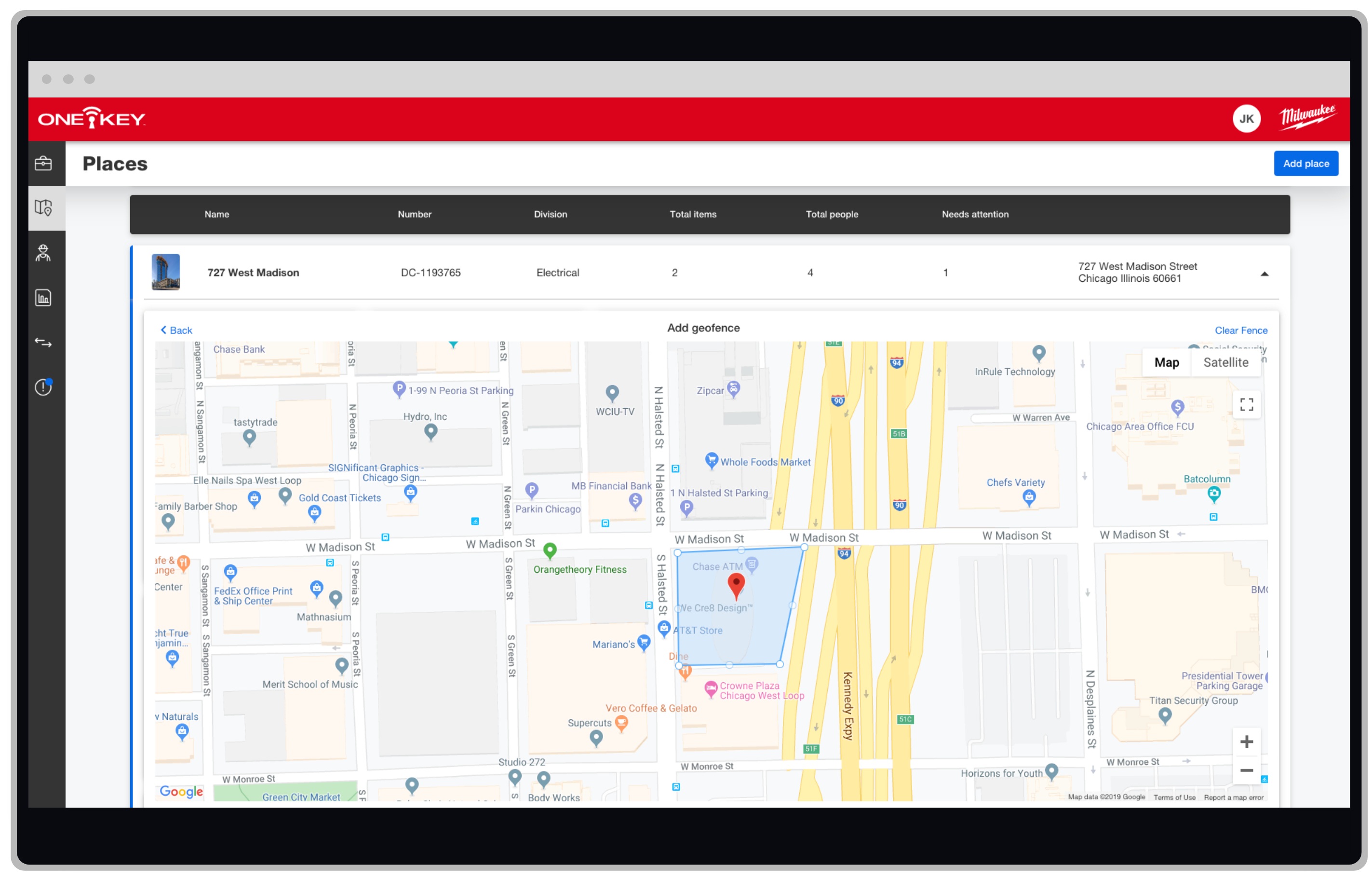 One-Key geofencing lets you set a perimeter around your jobsites and track tools in real-time