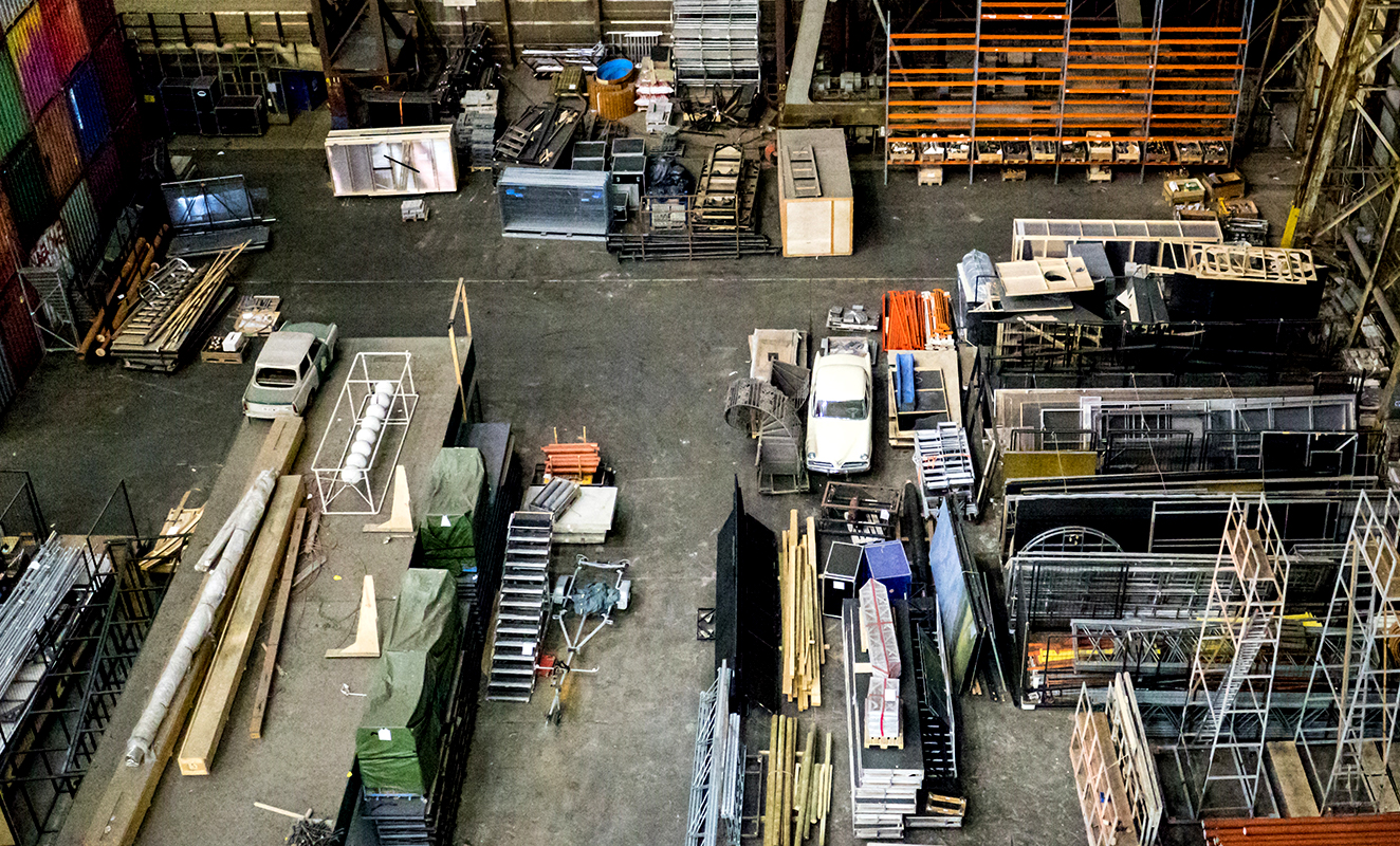 An aerial shot of a warehouse
