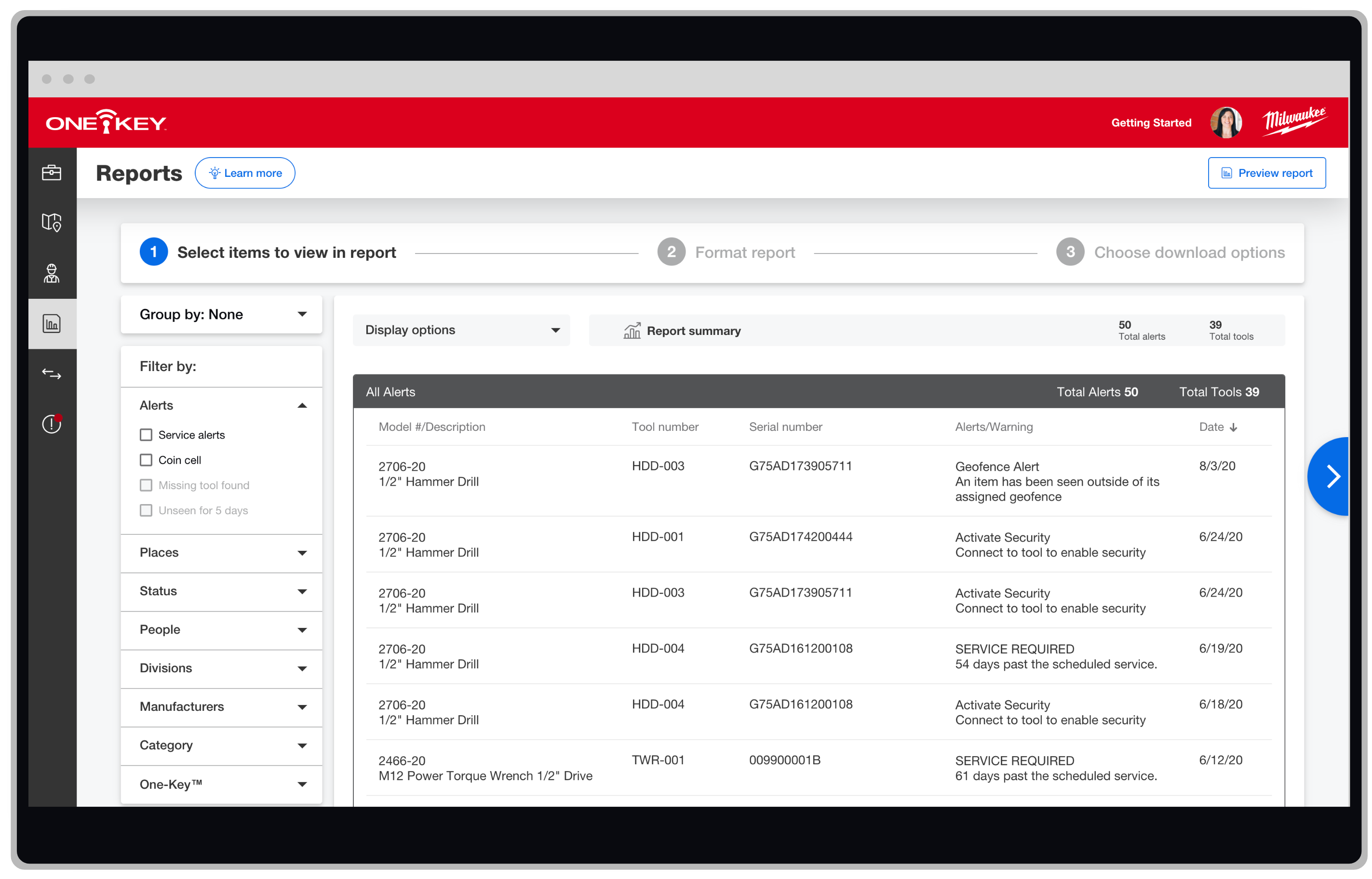 Screen shows One-Key inventory management app, which allows you to generate custom reports for your tool alerts