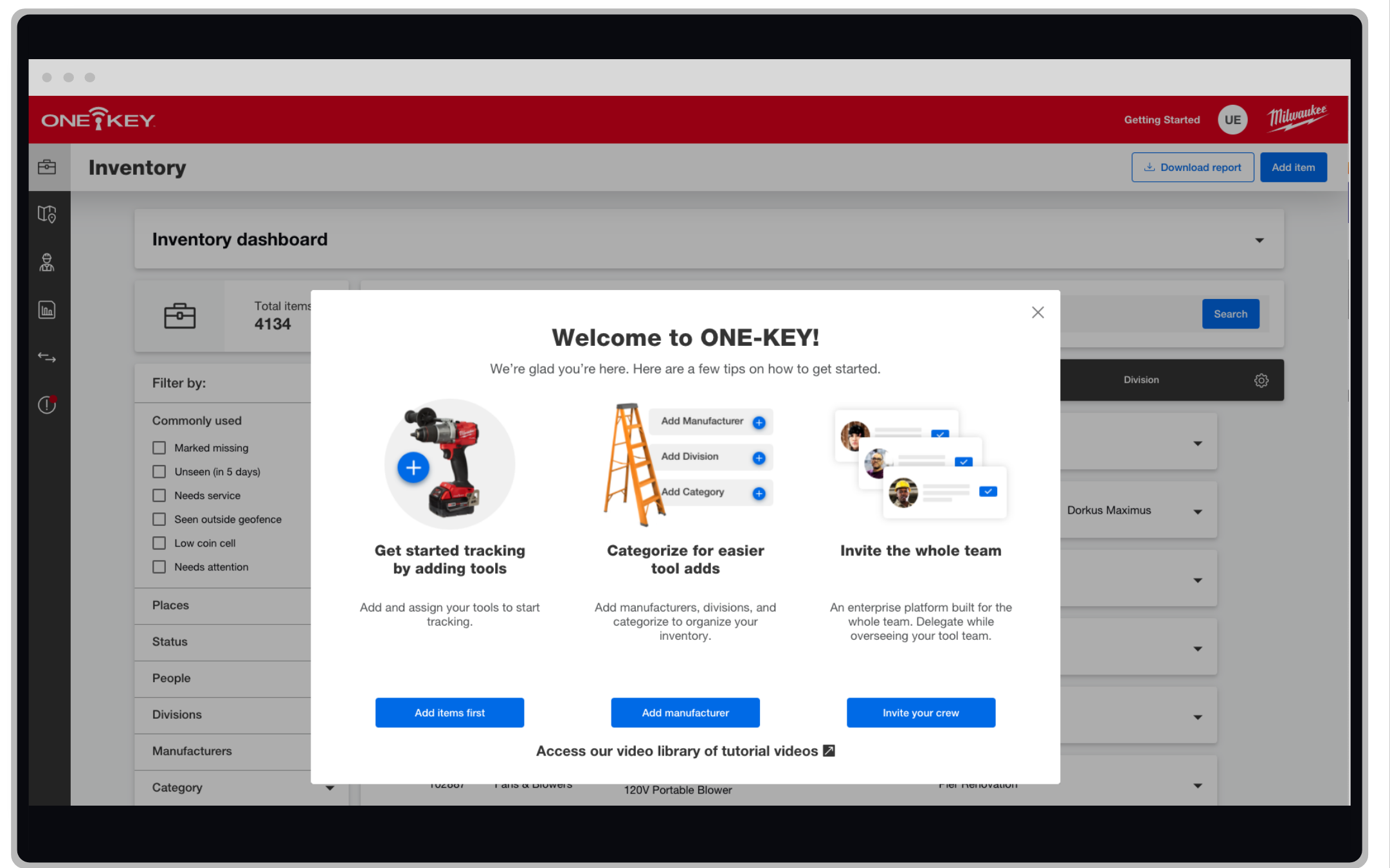 One-Key construction inventory management app shows educational screens to help new users learn how to interact with the app