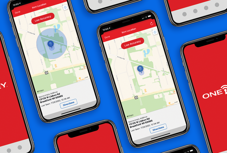 Image shows One-Key app with updated tool tracking accuracy tags corresponding with new iOS 14  changes