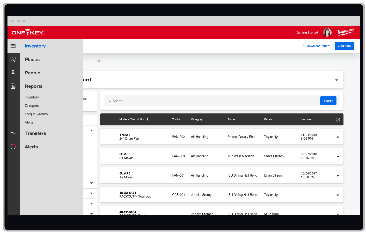 Navigating the One-Key enterprise inventory management app to create alerts report