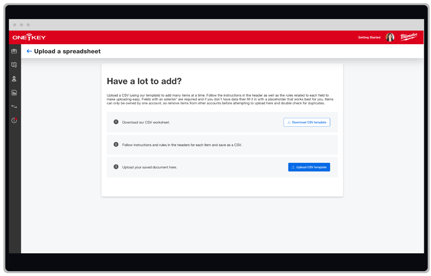 One-Key inventory management web app now has an improved bulk uploading feature