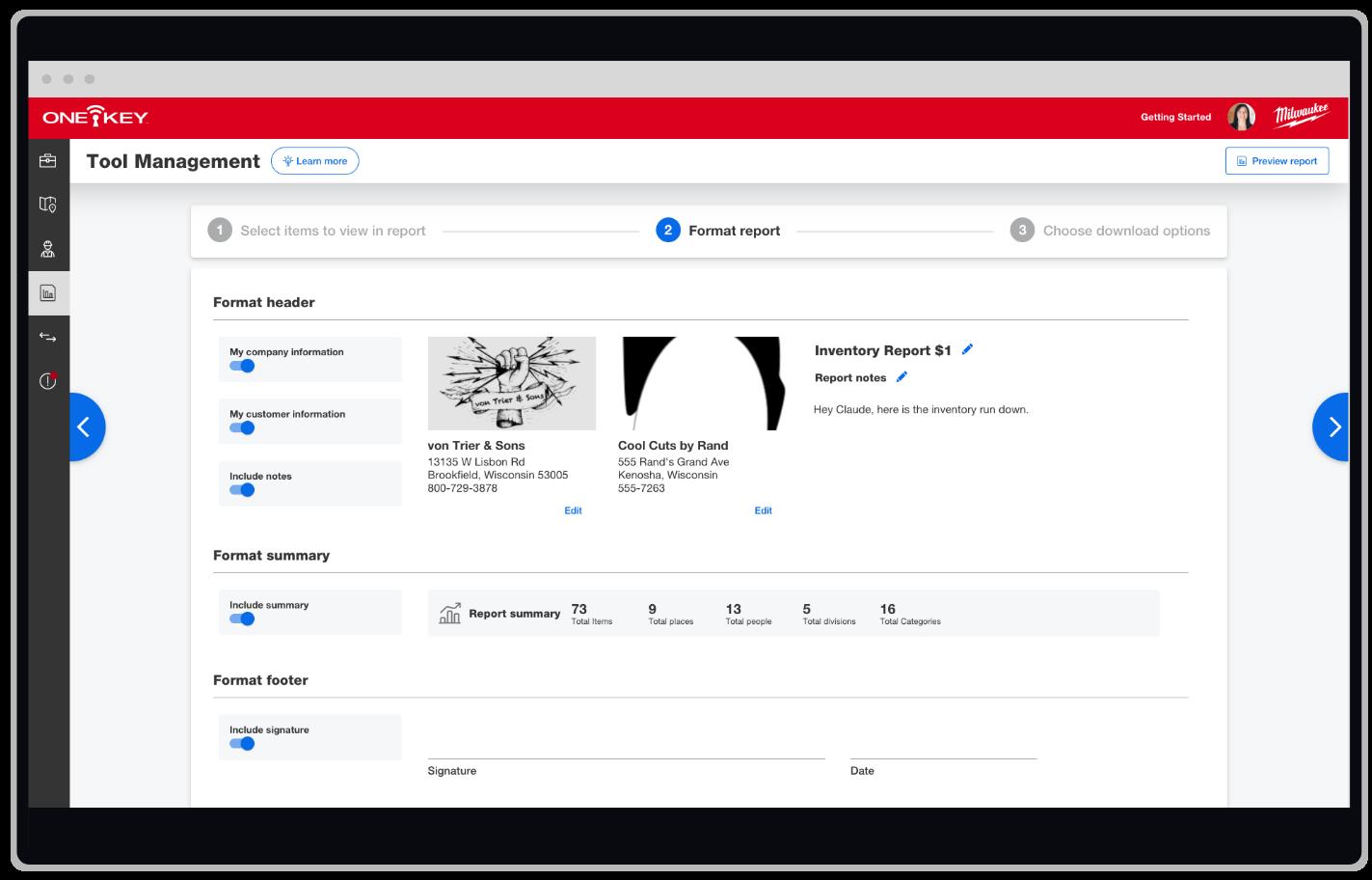 One-Key web app displays tool management report formatting
